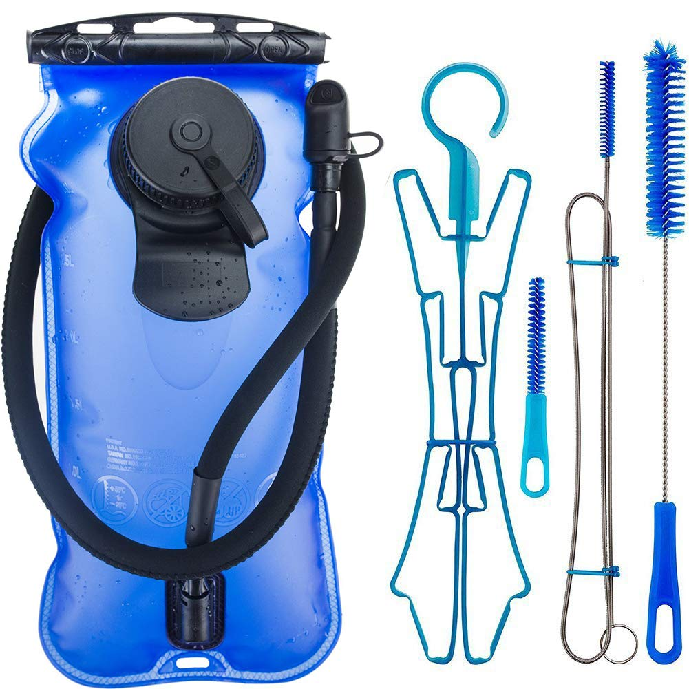 WACOOL 3L 3Liter 100oz BPA Free EVA Hydration Pack Bladder, Leak-Proof Water Reservoir (Blue(Double Opening) with Clean Kit) by WACOOL