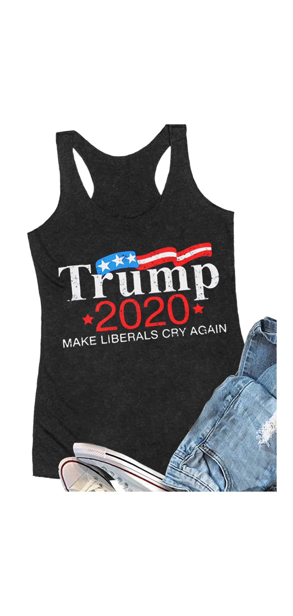 Th Of July Trump Shirt For Women Vintage American Flag Print T
