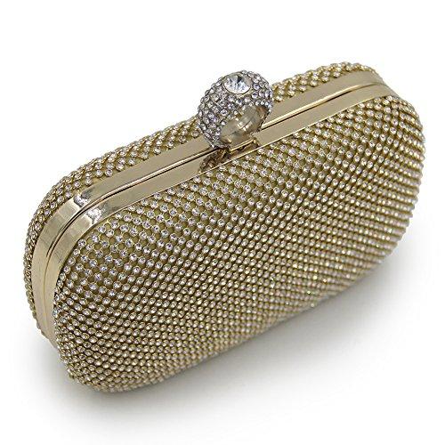Onfashion Bolsos Mujeres Lleno de Diamantes de Imitación Bolso de Mano por Boda Monedero de Noche Bolsos de Embrague Billetera Bolso de Cosméticos Dolado
