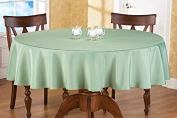 70 Inch Round Solid Colored Tablecloth, 100% Durable Polyester, Sage Green