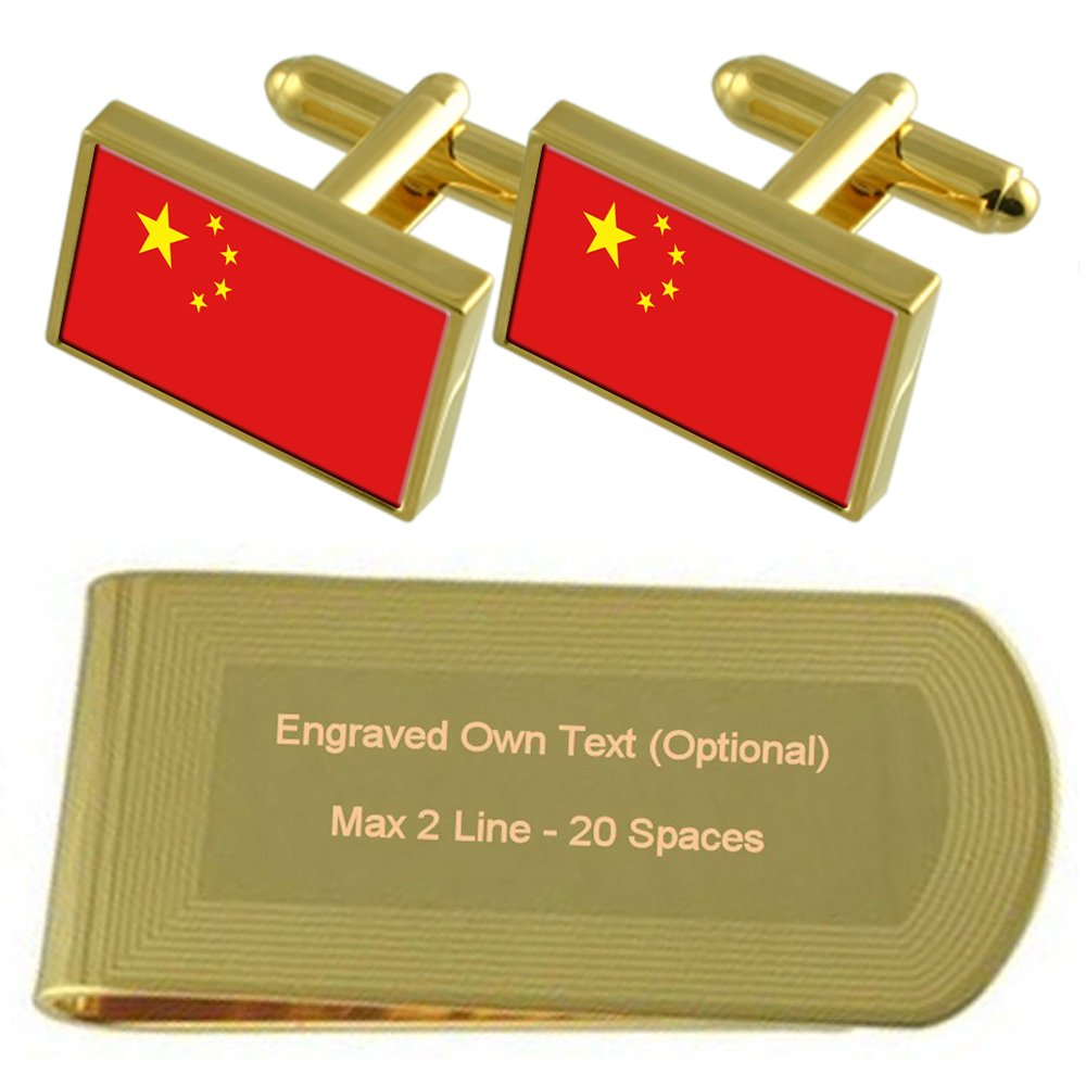 China Flag Gold-tone Cufflinks Money Clip Engraved Gift Set