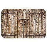 VROSELV Custom Door MatRustic Decor Old Oak Closed Garage Door with Steel HingeVintage Typical Cottage Doorway Image Tortilla