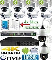 USG Sony DSP 10 Camera H.265 4MP Ultra 4K Security System PoE IP PTZ CCTV Kit: 1x 5MP 24Ch NVR + 4x 4MP 5-50mm Bullet + 4x 4MP 2.8-12mm Dome + 2x 4MP 4.7-94mm PTZ + 1x 4TB HDD + 1x 18 Port PoE Switch