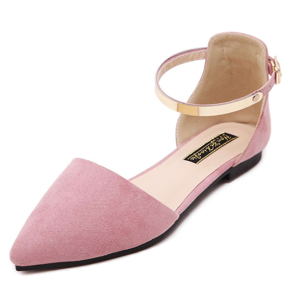 Meeshine Womens D'Orsay Pointy Toe Ankle Strap Buckle Comfort Ballerina Ballet Flats Shoes(8 B(M) US,Pink)