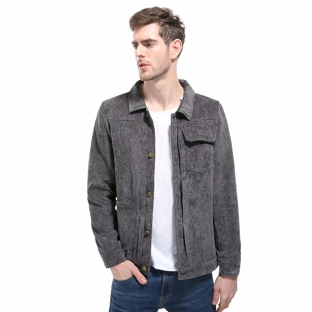 Corduroy Jacket,Mens Jacket Top Fashion Button-up Lapel Motorcycle Coat Outwear Top with Pocket (Gray, Asian:XL) by WM & MW