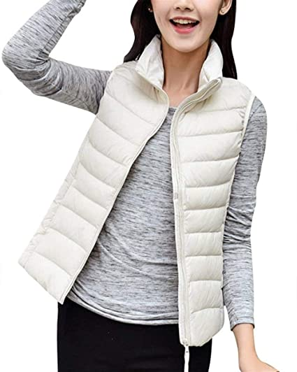 Gilet En Duvet Femme Automne Hiver Ultraléger Packable Doudoune Sans Manches Slim Fit Basic Avec Fermeture à Glissière Branché Elégante Grande Taille