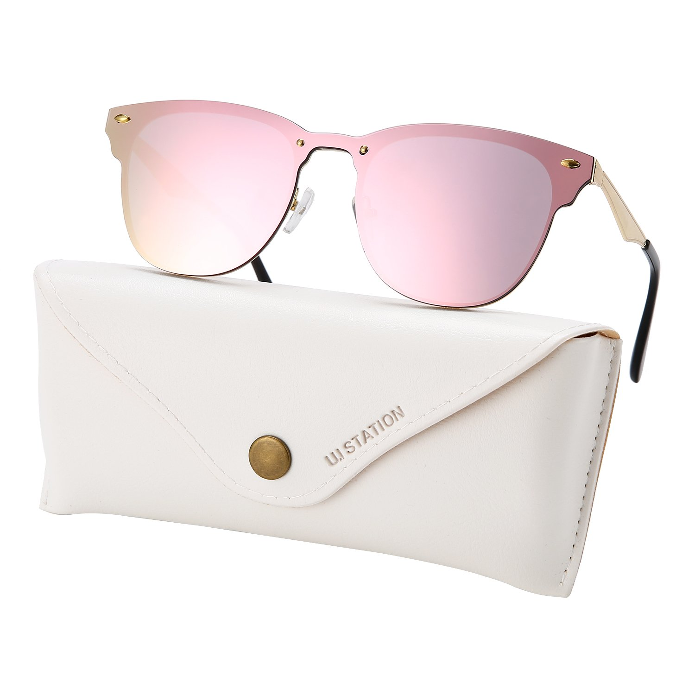 U.I station Wayfarer Mirrored Flat Lens Sunglasses Metal Frame 3576 (PINK)