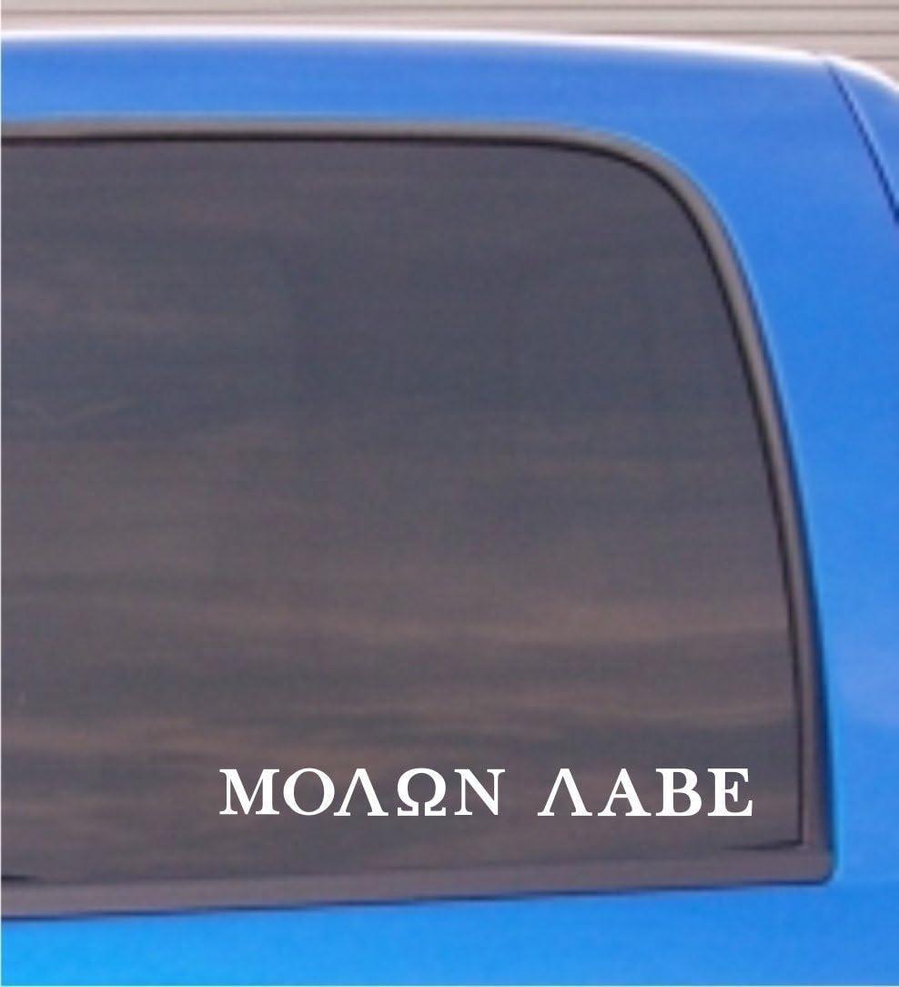 """CMI188 Molon Labe (Come and TAKE Them!) Vinyl Decal Sticker White   10.75"""" W x 1.1"""" H"""