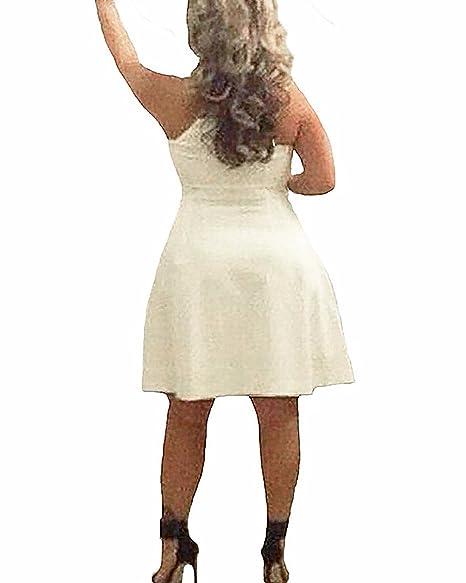 StyleDome Vestido Corto Elegante Casual Fiesta sin Mangas Cóctel Noche para Mujer Gordita: Amazon.es: Ropa y accesorios
