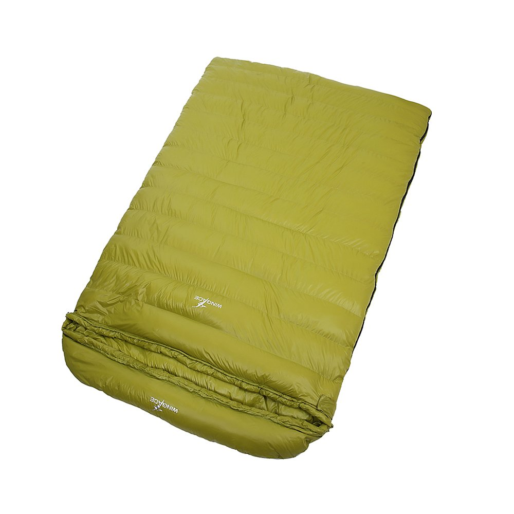 WINGACE 20度ダックダウンダブルスリーピングバッグ、2000g充填、封筒、超軽量、圧縮サック付き B01MT9FUU8 緑 緑