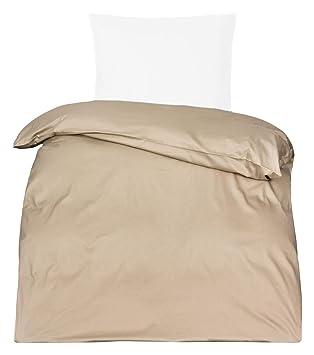 Moon Premium Uni Mako Satin Bettwäsche 100 Baumwolle Beige