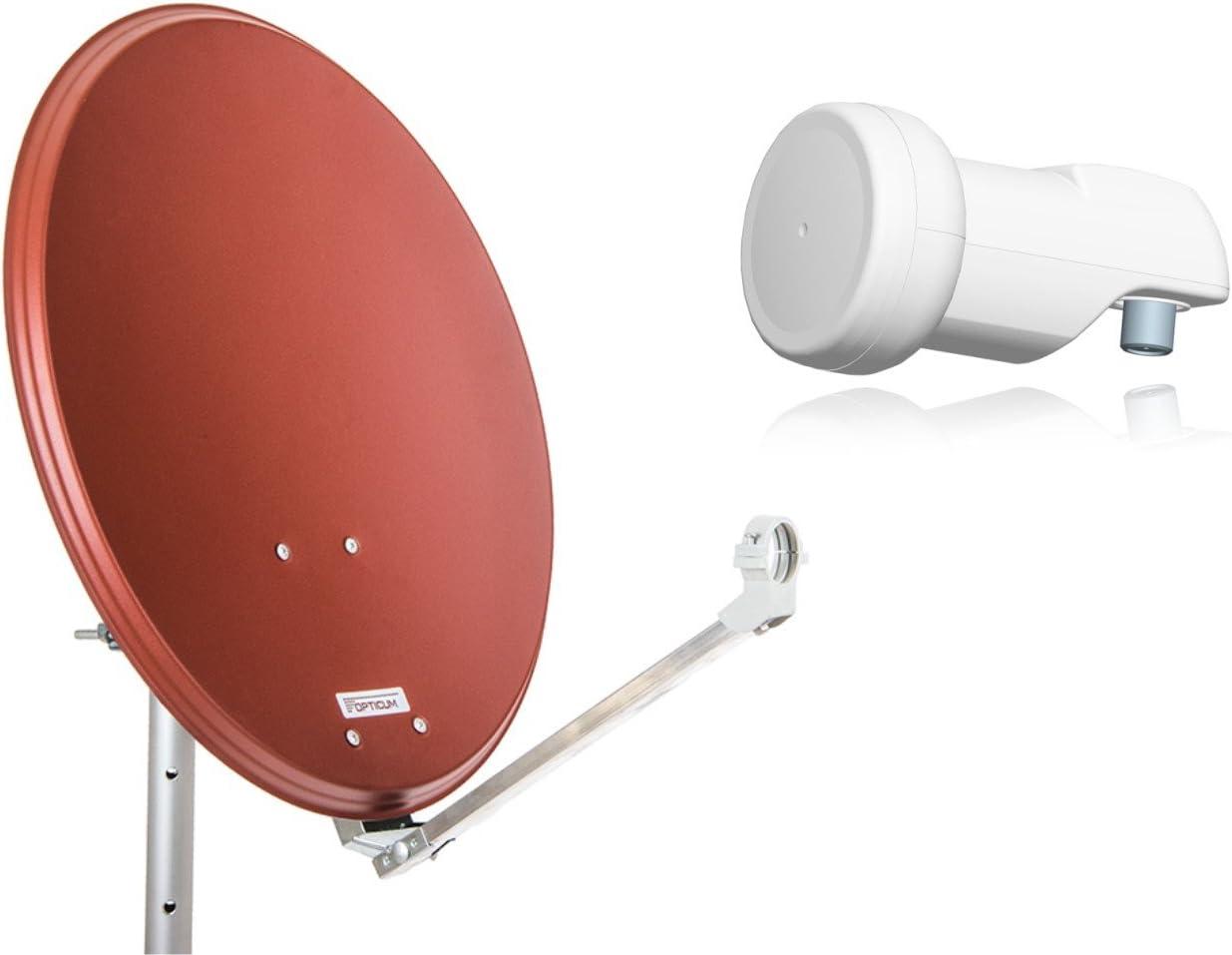 Opticum Stahl QA60 - Antena parabólica con LNB, 60 cm de Color Rojo ladrillo