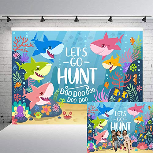 TJ 7X5FT Baby Shark Family Let's Go Hunt Photo Background Under The Sea Photography Backdrops Baby Shower Kids Birthday Theme Party Decor Banner Studio Props Vinyl