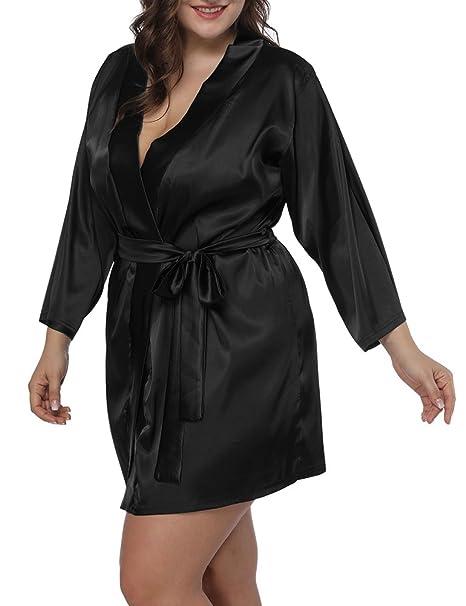 677098bbc7 Allegrace Women Plus Size Satin Wrap Front Kimono Robes Short Pajamas with  Belt Black 1X