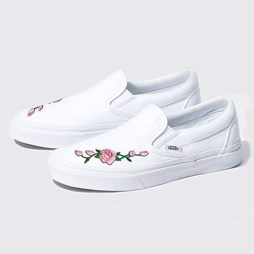 3b7907cbb0d32 Amazon.com: Custom White Slip-On Vans Embroidered Pink Rose Handmade ...