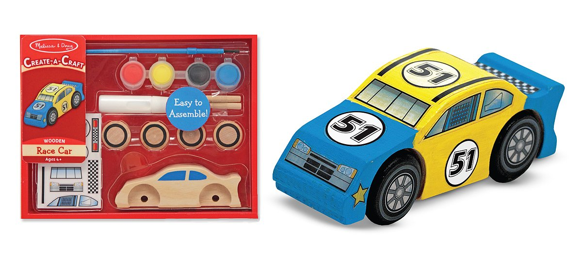 Amazon Com Melissa Doug Decorate Your Own Wooden Race Car Craft