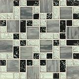 Bedrosians GLSMGICPG7 ''Ice Crackle'' Mosaic Gloss Matte Tile, 12.63'' x 12.63'', Black