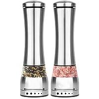New Home Stainless Electric Salt&Pepper Grinder Set Spice Grinder Ceramic Rotor w/Adjustable Coarseness LED Light