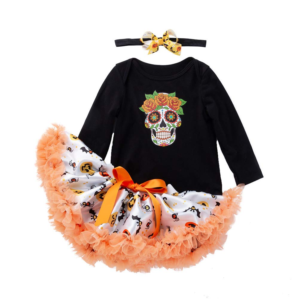 ❤️ Tefamore Vestidos Bebe Niña, Ropa Bebe Niña Disfraz Halloween Cráneo Impresión Manga Larga Mameluco Ropa+ Bow-Knot Tutu Falda + Diadema