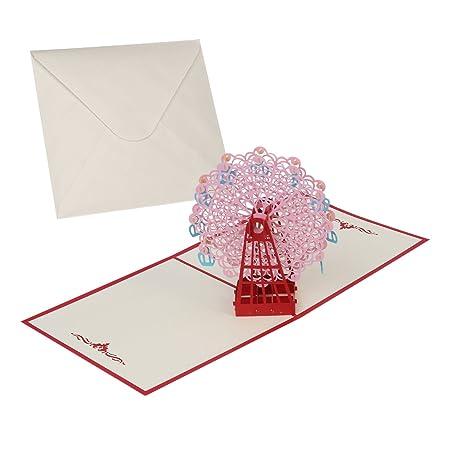 SUPVOX - Tarjeta de felicitación 3D con sobre, 15 x 15 cm ...
