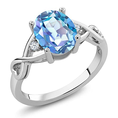 Gem Stone King 925 Sterling Silver Millennium Blue Mystic Quartz White Topaz Women s Ring 1.85 Ct Oval Available 5,6,7,8,9
