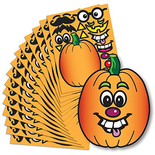 Create A Pumpkin Stickers - 15 Full Size Pumpkin Face Craft Sticker Sheet Halloween Crafts For Kids (Halloween Craft Classroom Party)