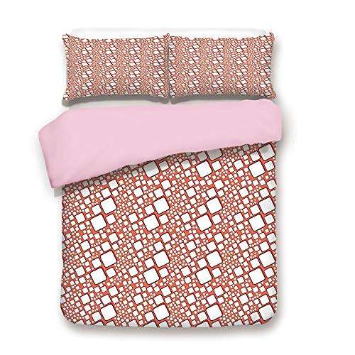 (Pink Duvet Cover Set,Full Size,Ornamental Squares with Oval Corners in Various Shapes Geometric Pattern,Decorative 3 Piece Bedding Set with 2 Pillow Sham,Best Gift for Girls Women,Dark Salmon White)