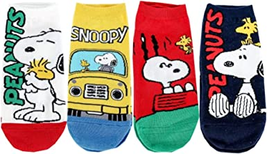 Snoopy Character Womens Crew Socks with Pouch Pack of 4 pairs