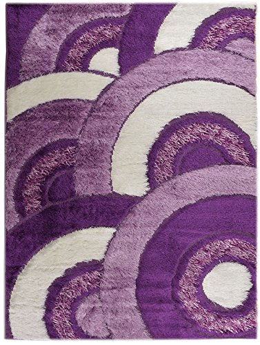 Geometric Abstract Circles Swirls Design Area Rug Royal Collection (Purple White, 3'3