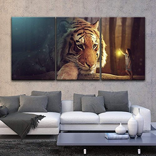 3 Panel Dreamlike Giant Tiger Head and a Girl Holding a Lamp x 3 Panels