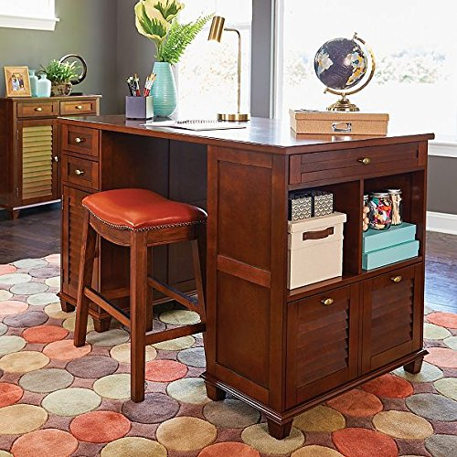 Project Center Desk with 2 Sides for Multple Storage Options - By Palos Designs (Walnut) by Palos Designs