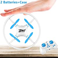 Dwi Dowellin Mini Drone Crash Proof Nano Drones One Key Take Off Flips Rolls RC Quadcopter Toys for Kids Children Beginners comes with Case and 2pcs Batteries, Blue