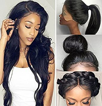 Amazon.com   Fyonas Hair Long Wavy Lace Front Wigs for Women Natural  Looking Wave Guleless Wig Half Hand Tied Heat Resistant Synthetic Fiber (24  Inch c79dcafff