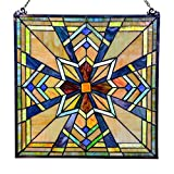 18'' Tiffany Style Stained Glass Northern Star Window Panel