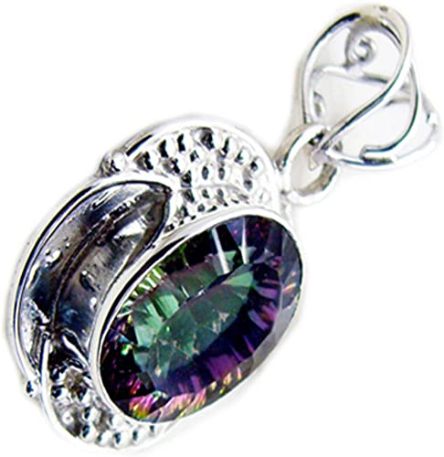 Jewelryonclick Mystic Quartz Lockets For Women Sterling Silver Bezel Style Oval Stone Pendant Necklaces