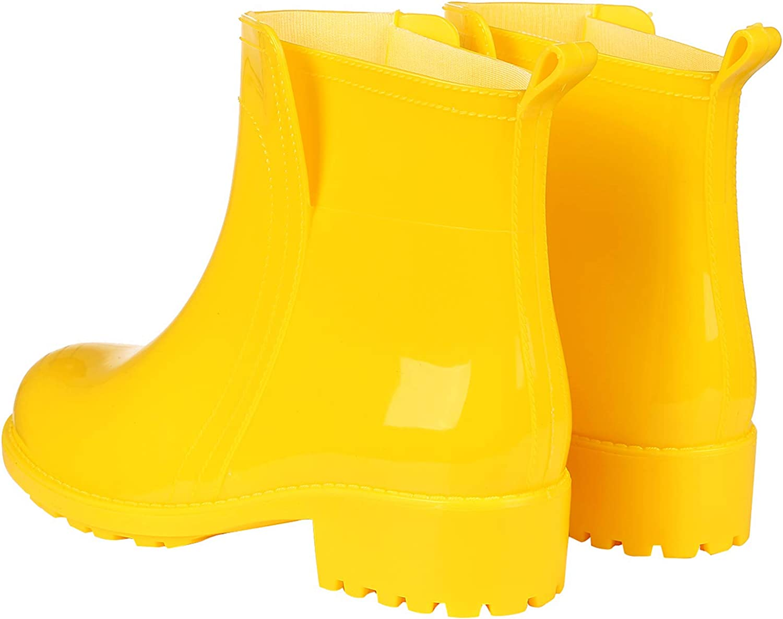 Womens Ankle Rain Boots Short Slip On Waterproof Outdoor Anti Slip Work Rain Shoes
