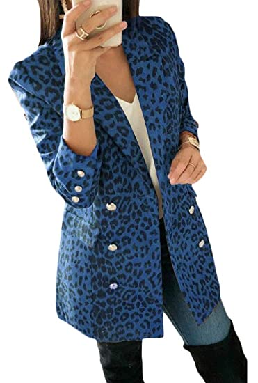 9178adc0a217 GUOCAI Women Casual Slim Leopard Print Double Breasted Blazer Jacket Suit  Coat Blue XL