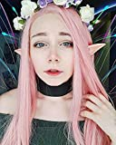Heahair Fashion Affortable New Style Pink Color Handtied Synthetic Lace front Wig for Cosplay(Pale pink)