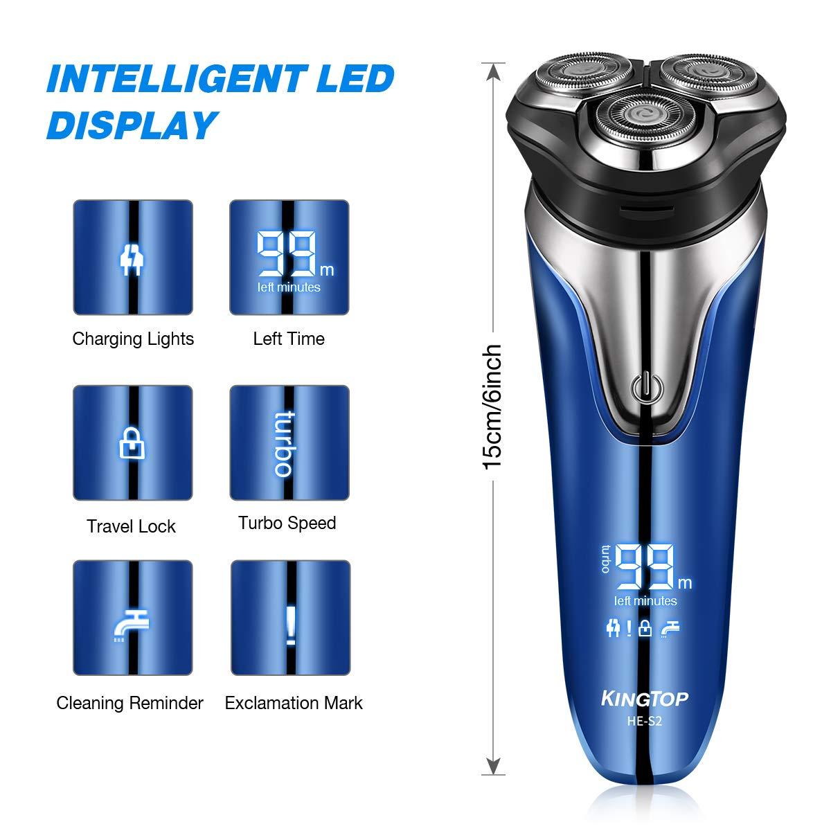 Máquina de Afeitar de Rotación Afeitadora Eléctrica para Hombres KINGTOP Cabezas Giratorias Cortadora de Barba Impermeable IPX7 Modo de uso Carga Rápida ...