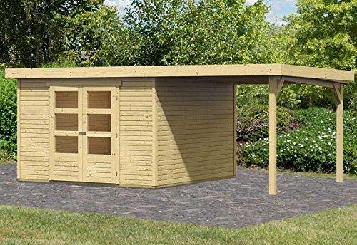 Karibu Woodfeeling Gartenhaus Askola 6 mit Schleppdach 2,2 Meter Außenmaß Haus (B x T): 302 x 306 cm Dachstand (B x T): 536 x 331 cm Wandstärke: 19 mm Bauweise: Systembauweise Schleppdach: 2,2 Meter, links und rechts montierbar