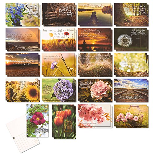 Pack of 40 Christian Postcards - Features Motivational and Inspiration Scripture from The Bible, 4 x 6 Inches
