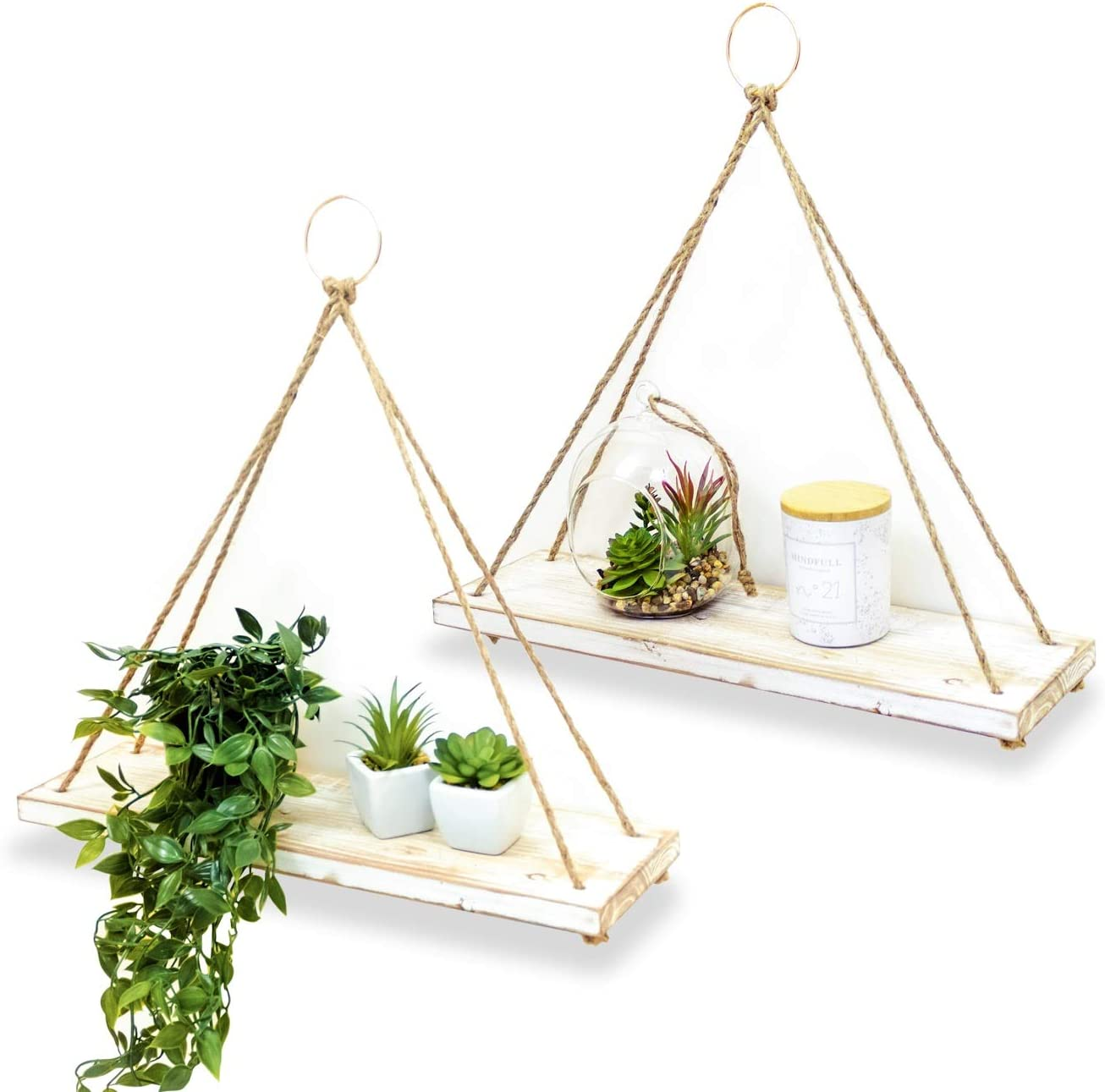 BAMB2 Floating Wall Shelves Set of 2 Farmhouse Plant Hangers for Home Office Rustic Home D cor Mounting Accessories Included Practical and Sturdy Design Ideal for Pots, Books, Frames