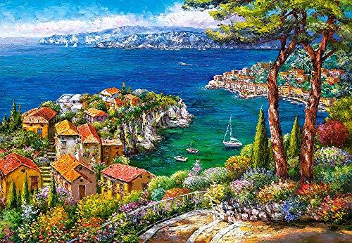 Castorland C-151776-2 Hobby Panoramic Cote D'Azur Jigsaw Puzzle, 1500 Pieces Set, Multicolour