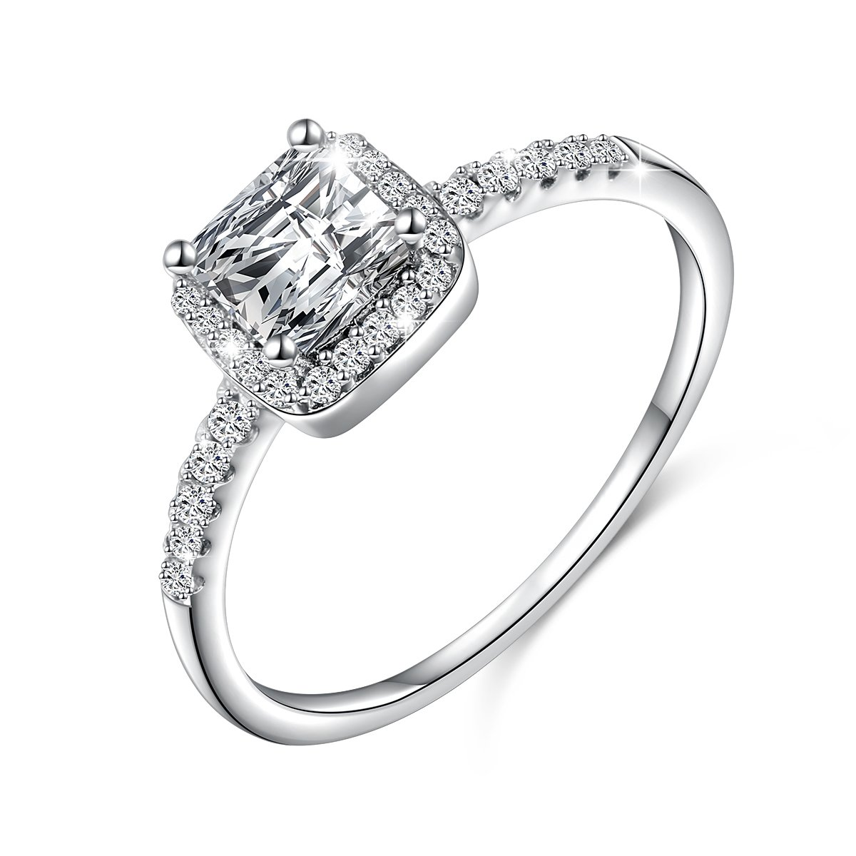 LINLIN FINE JEWELRY 925 Sterling Silver Women Wedding Ring Round Brilliant Cubic Zirconia Engagement Promise Anniversary Ring Solitaire Wedding Bridal Set,Size 7