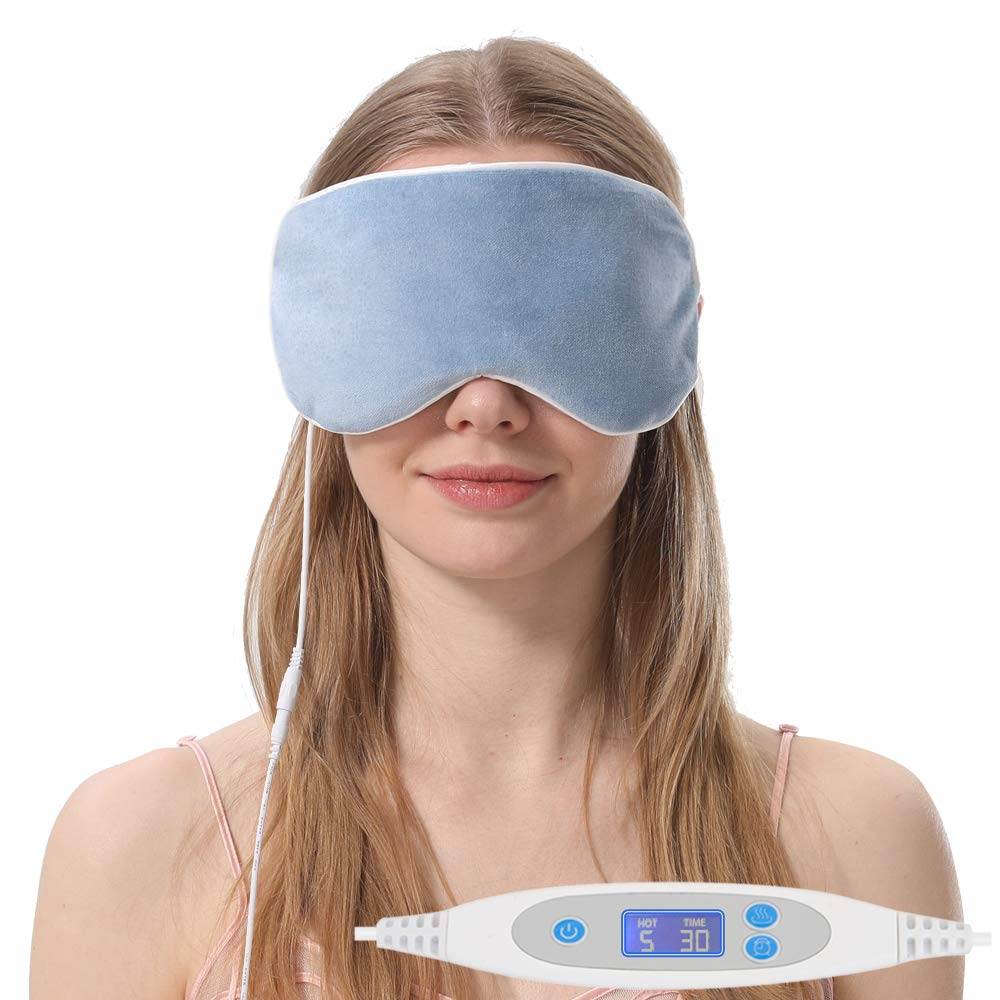Aroma Season Natural Cotton Silk Heated Eye Mask, Warm Compress for Dry Eyes, Designed to Relieve Blepharitis, Stye, Puffy Eyes (Blue)