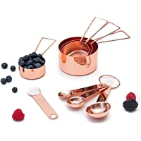 Copper Measuring Cups and Spoons Set - Metal Measuring Cups and Spoons Set - Stackable, Stylish, Sturdy Stainless Steel…