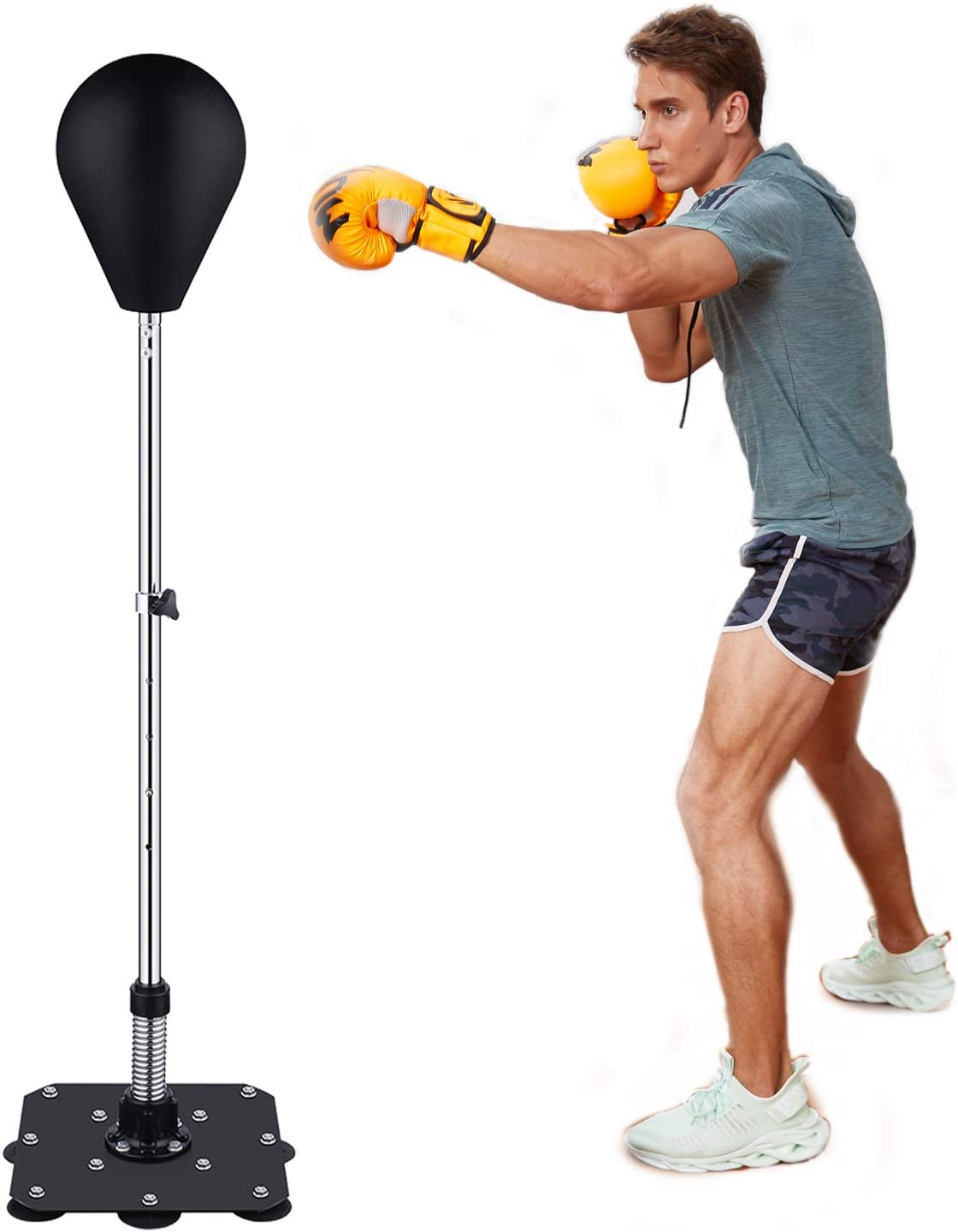 Mauccau Punching Bag with Stand Adjustable Solid Speed Punching Bag with Reflex Bar PU Boxing Bag Home Outdoors Gym for Adults Kids
