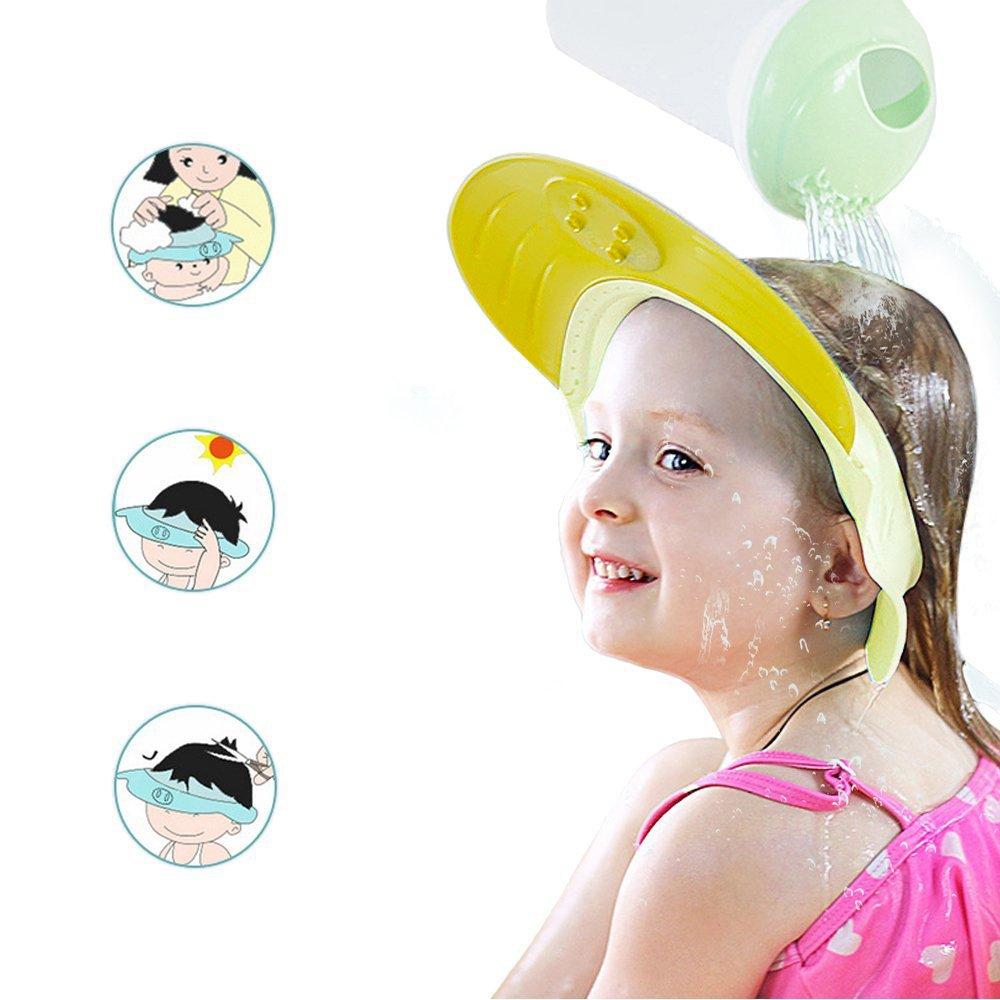 ONEDONE Gorro de ducha ajustable Champú Proteger sombreros Gorra de silicona suave y divertida Adecuado para adultos o niños (Amarillo)