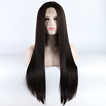Amazon Com Lace Front Wigs Straight Long Dark Brown Synthetic Yaki