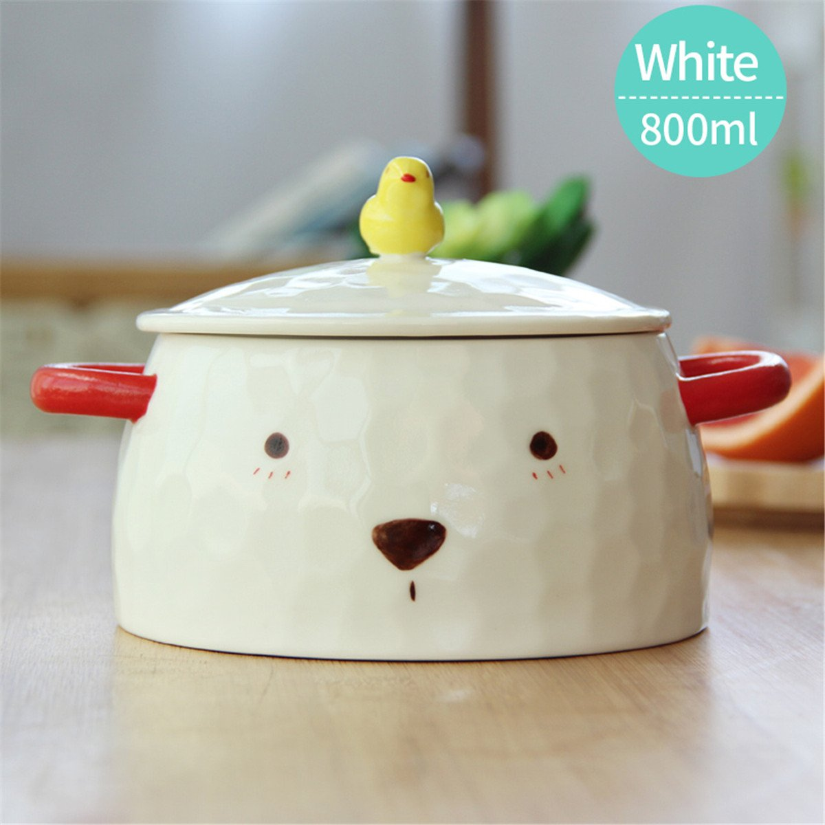 UPSTYLE Big Capacity 3D Cute Cartoon Microwave Ceramic Soup Bowls Bear Instant Noodle Bowl Cereal Bowl for Salad Fruit Vegetable with bird Lid and Handle Size 27.3oz(800 ml) (White)